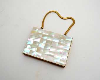 Vintage Compact and Cigarette Case, Mother of Pearl Wristlet, Powder Compact, Lipstick Holder, Marhill, circa 1950s