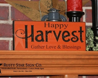 ON SALE!!!  Happy Harvest Wooden Sign, Fall Signs, Autumn Signs, Seasonal Signs, Rustic Fall Decor, Distressed Fall Sign, Harvest Signs