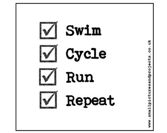 Triathlon card - Swim, Cycle, Run, Repeat