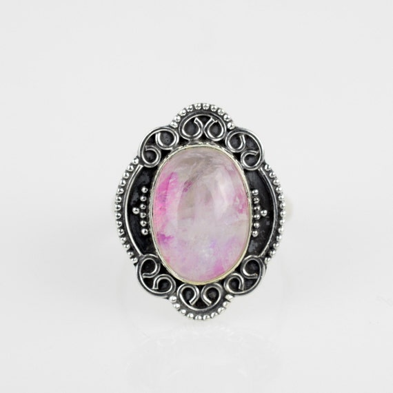 Pink Moonstone Ring Sz 8 Sterling Moonstone by ...