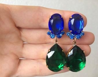 Amaizing Green Blue handmade rhinestone earrings clips from czech glass