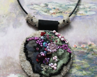 "Vintage beads,felt,sequins and lace  ""Leaf and bloom"" pendant ,wearable art"