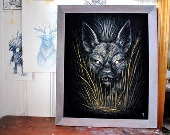 "At Night II - Original black velvet painting 16"" x 20"""
