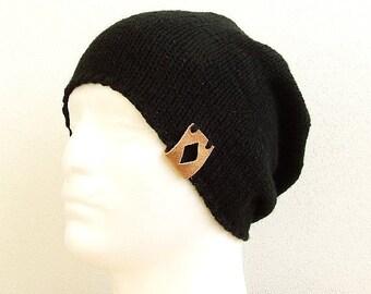 SALE 35% OFF Knit Beanie Hat Black Slouchy Beanie Winter Beanie Black Beanie for Men Women, Husband Gift, Graduation Gift Him, Hat for Woman