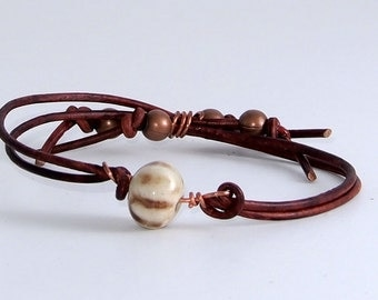 White Striped Copper Leather Bracelet