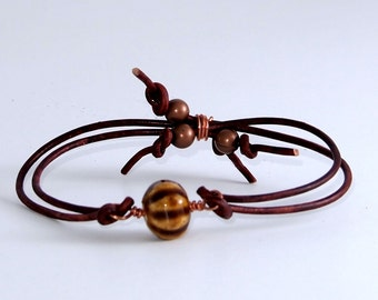 Yellow and Brown Striped Copper Leather Bracelet