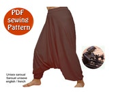 Instant download PDF style sewing pattern DIY Universal harem trousers yoga pants Unisex saroual Fits for all sizes Canadian seller