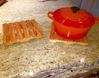 Handmade Oak Pallet Trivets - Oak Pallet Set Hot Plates and Trivets
