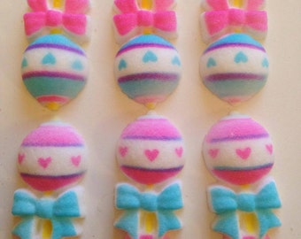 6 Baby rattle edible sugar cake toppers baby boy or girl.