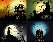 4 Digital Card Templates Halloween, Digital Paper  Scrapbooking, Party Invitations, Halloween Clipart, - Personal and Small Commercial Use.