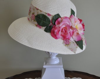 Pink Country Rose High Tea Hat, Afternoon Tea, Bridal, Hair, Wedding, Accessory, Shower, Kentucky Derby, Photography Prop