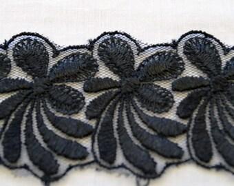 Black lace, BK003, is a floral embroidered design, 4.5cm wide.
