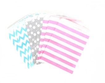 Confetti Cocktail Treat Bags in Chevron Dot and Stripe , Multi Colored Treat Bags, Silver Popcorn Glitter Girls Birthday Paper