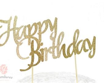 Happy Birthday Cake Toppers, Happy Birthday Toothpicks, Gold Glitter Cake, Gold Glitter Birthday Cake Topper, Birthday Cake Topper