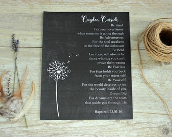 Christening gift, Baptism gift, Unique new baby gift, Dandelion, Personalized Baptism Gift, Personalized Christening gift, Baby Chalkboard