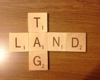 2 inch scrabble tiles with stands.