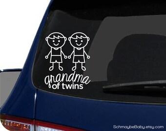 Grandma of Twins White Vinyl Car Decal - Child Version - Twin Boys, Twin Girls, Boy Girl Twins