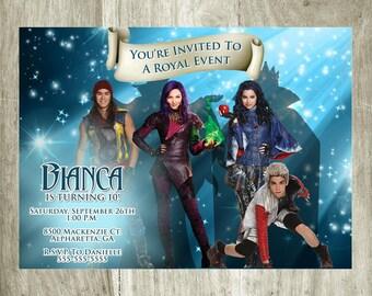 Disney The Descendants Birthday Invitation Personalized Printable Digital 5x7 file
