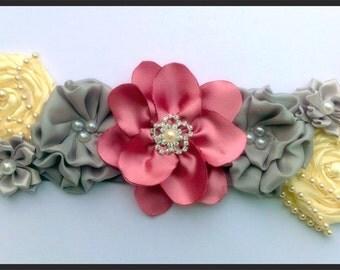 Handmade flower vintage style sash