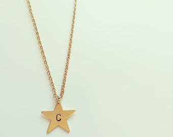 Hand stamped gold plated initial star necklace - personalised