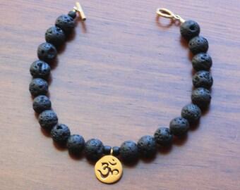OHM, bracelet, lava bead bracelet, Friendship Bracelet, Charm Bracelet, Ohm charm, gift for Her, bracelet, Eco-friendly Wrap, vermeil