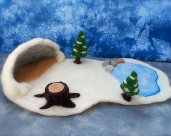 Miniature Needle Felt Winter Forest Playscape - Waldorf inspired