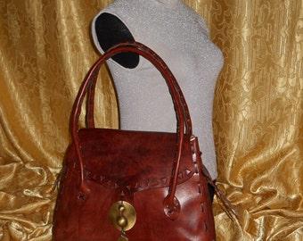 Genuine Italian leather bag / totally handmade   Made in 70's