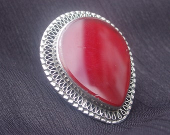 Vintage red Aqeeq stone Afghan tribal ring