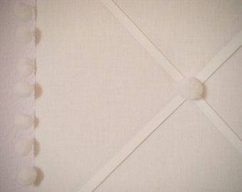 Memo Board with Pompons made with creme organic cotton (crème de la crème), 20 x 30 inches / 51 x 76 cm