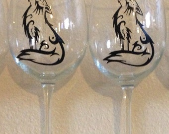 Hand painted howling wolf wine glass