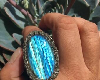 Labradorite and Pyrite Ring