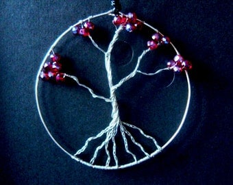 wire tree of life necklace pendant wire wrapped with red crystal beads, boho jewelry