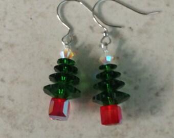Handmade Swarovski Crystal Christmas tree earrings