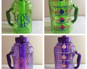 Water Bottles,Water Challenge bottle, Personalized Water Bottles,Measured Water Bottle,Workout water bottle,New Year's Resolution, 8 cups