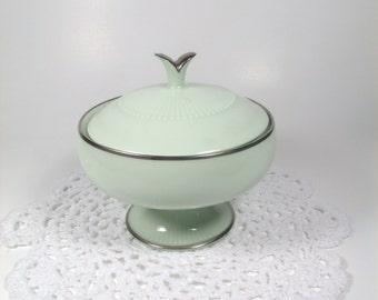 Noritake Pedestal Sugar Bowl Green Platinum Trim, Home Decor, Candy Dish, Trinket Holder, Gift