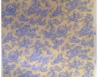 SALE-Blue and Yellow Toile de Jouy Fabric