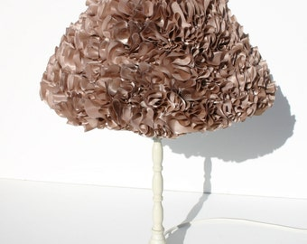 lampshade, ruffle lampshade, lampshade, table lamp, cappuccino lampshade, shabby chic lampshade, champagne lampshade, side lamp, Vivo 50's.