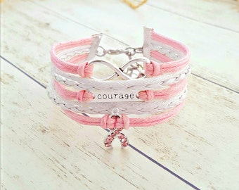 Breast Cancer Bracelet, Courage Bracelet, Infinity Bracelet, Pink Rope Bracelet, Breast Cancer Gift, Breast Cancer Awareness