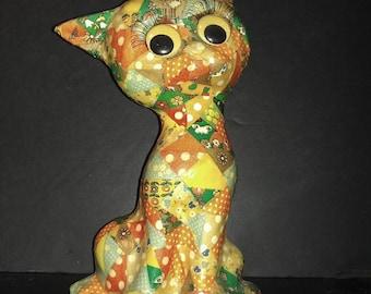 "Vintage Kitsch Folk Art 12.75"" Decoupage Patchwork Calico Big Eyed Cat Figurine Doorstop"