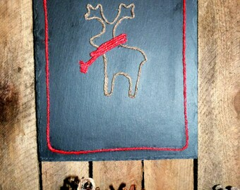Beautiful unique christmas wall decoration, real slate decorated with a twine Rupert the reindeer wearing a red twine scarf