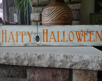 Happy Halloween. Hand painted wood sign/ Halloween sign/ Halloween decor/ October 31st decor/ Happy Halloween sign