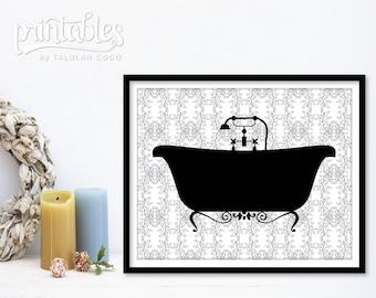 Vintage Bathtub - Printable Bathroom Decor - DIY Bathroom Sign Bath Sign - Instant Download Vintage Bath Print - Shower Wall Art Bathtub Art