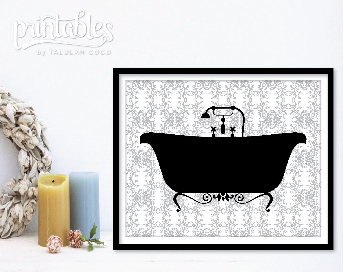 Vintage Bathtub Printable Bathroom Decor Diy Bathroom Sign