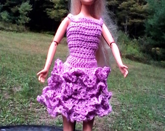 PURPLE PARTY DRESS for Barbie or other 11 inch dolls.