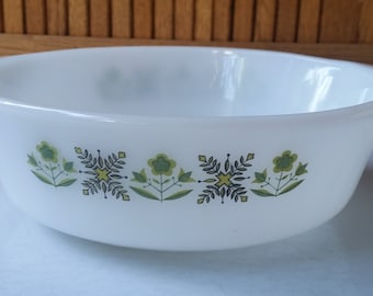 Vintage Anchor Hocking Fire King Meadow Green Casserole Dish