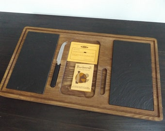 Vintage Never Used Baribocraft Cheese Board / Slate / Teak Serving Tray / Cheese Platter