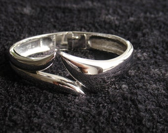 TRIFARI Shiny SilverTone Metal Bangle Clamper Cuff Bracelet