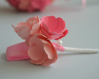 Paper flower boutonniere pink boutonniere paper flower pin.