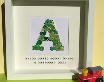 Personalised button letter - handmade - nursery art - be my bridesmaid - new baby gift - birthday gift