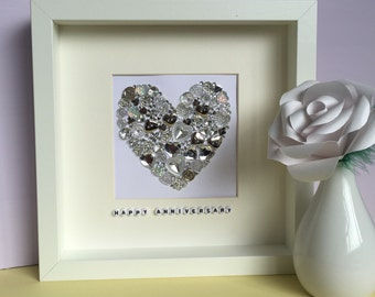 Personalised silver button heart - wedding gift - anniversary gift - engagement gift - handmade - choose any colour